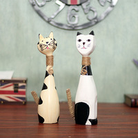 Hot Nordic Woodiness Couple Cat Decorated Living Room TV Cabinet Study Office Decoration
