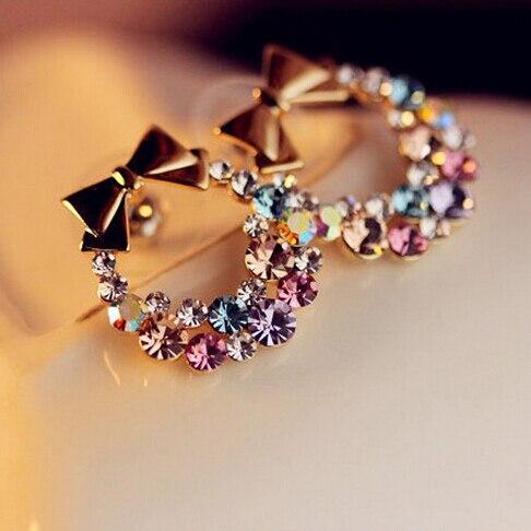Free Shipping $10 (mix order) New Fashion Imitation Colorful Rhinestone Bow Earrings E41 Vintage Jewelry