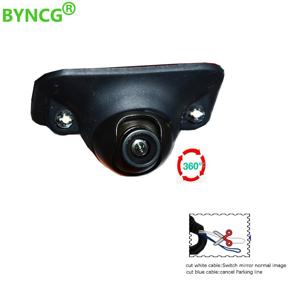 BYNCG Mini Coms CCD HD Visão Noturna 360 Graus Carro Câmera Frontal Câmera Frontal Vista Lateral Reverter Retrovisor de Backup câmera