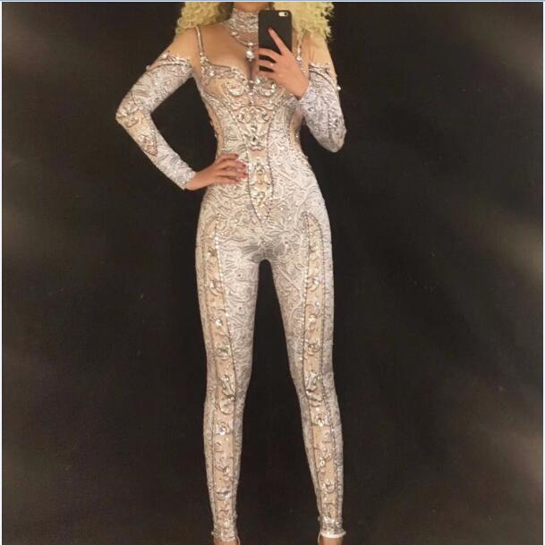 Glisten Crystals Pattern Printed Sexy Jumpsuit Big Stones Stretch Women's Rompers Nightclub Stage Performance Celebrate Costumes