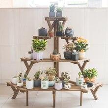 Полки для растений цветочный держатель горшков лестница-образный цветочный стенд стеллаж многослойные деревянные полки для хранения бансай демонстрационная полка