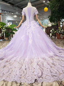 Image 2 - LS00017G 紫色のイブニングドレス半袖 o ネックビーズアップリケレースのロングイブニングドレス 2019 vestido デ 15 各公報デデビュタント