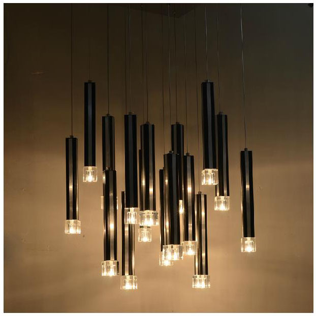 W22 Quot X H49 Quot Dining Room Pendant Light Modern 16 Pcs Black