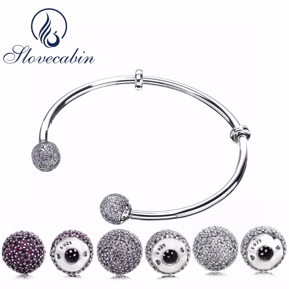 Slovecabin 2017 New Unique Moment Open Bangle Bracelet For Women 925 Sterling Silver Pave Stone Open Bangle For Bead DIY Jewelry glitter stone open cuff bangle