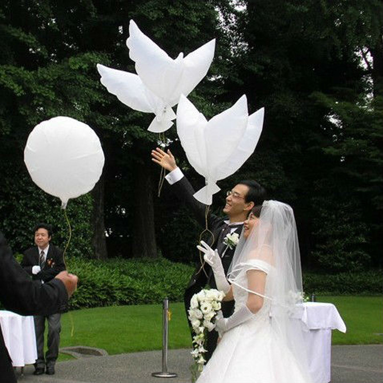 10pcs Flying White Dove Balloons Wedding Globos Balao Dove Balloons Peace Bird Ball Pigeons Peace Dove Foil Balloons in Ballons Accessories from Home Garden