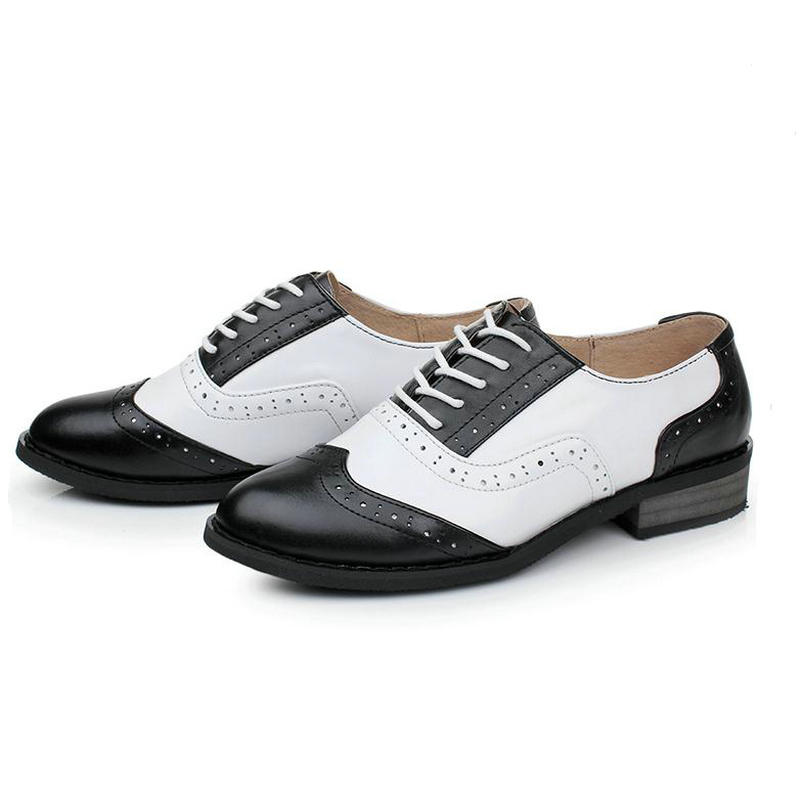 British Style Bullock Carve Vintage Oxford Shoes Genuine Leather Black White Lace up Flat Heels Handmade