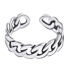 Retro 925 Sterling Silver Ring For Women Men Cuban Chain Ring Punk Open Finger Ring Fashion Sterling Silver Jewelry 100% 925 sterling silver cross curb chain rings for women punk retro finger ring fashion sterling silver jewelry