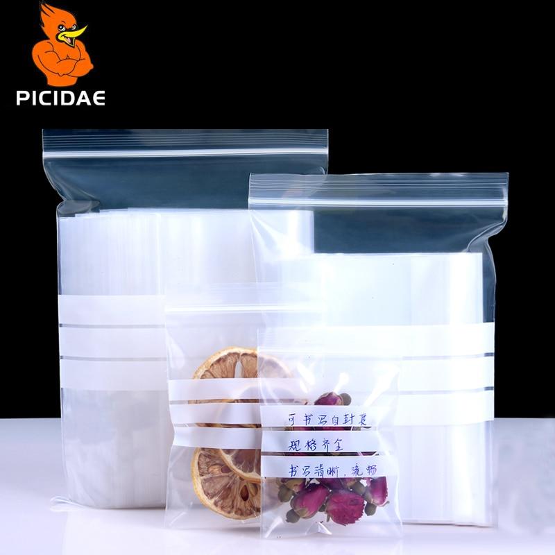 Beschrijfbare ritssluiting hersluiting Transparante plastic zak verzegelde zak voedselverpakking thee opslag kruiden medicijn monster delen