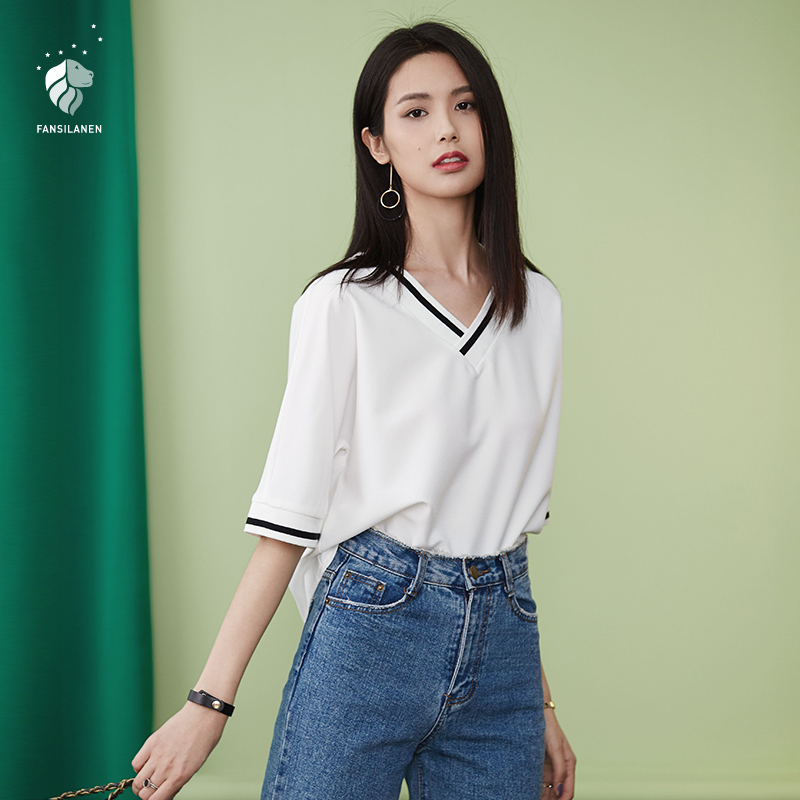 FANSILANEN 2019 Fashion SummerSpring New Arrival Loose Women T-shirt Tshirt Tops Plus Size Solid WhiteBlue Chiffon Z71236