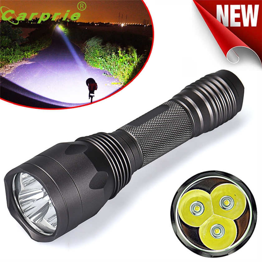 Super Bright 8000Lm 3x CREE XM-L T6 LED 5-Mode 18650 Flashlight Torch Light Lamp 170128 cree xm l t6 bicycle light 6000lumens bike light 7modes torch zoomable led flashlight 18650 battery charger bicycle clip