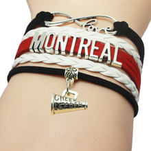 Drop Shipping Braided Leather Infinity Love CHEER LEADER Bracelet Montreal Sports Team Cheer Leader Bracelets