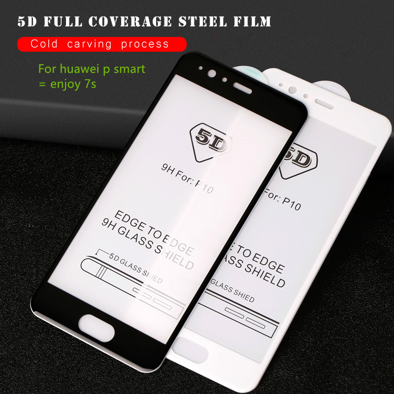 5D Full Cover Tempered Glass For Huawei P Smart Dual SIM Screen Protector cover case For Huawei PSmart FIG Protective Glass Film