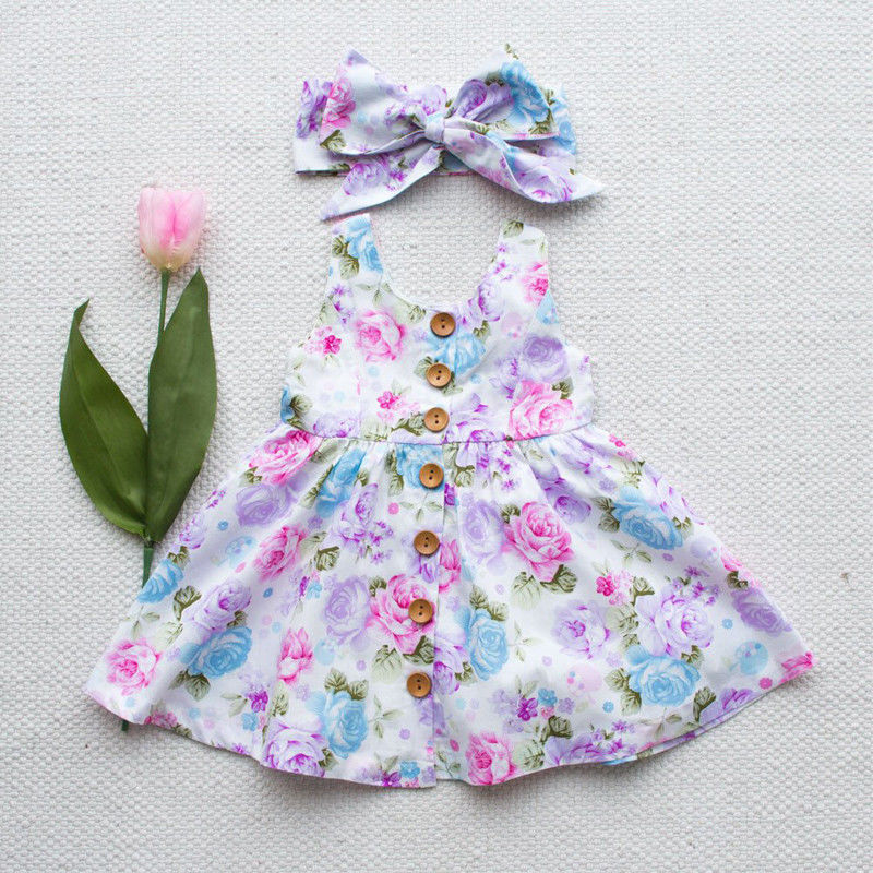Girl Dress Button Floral-Tank Match Toddler Infant Kids Sleeveless Summer Headband