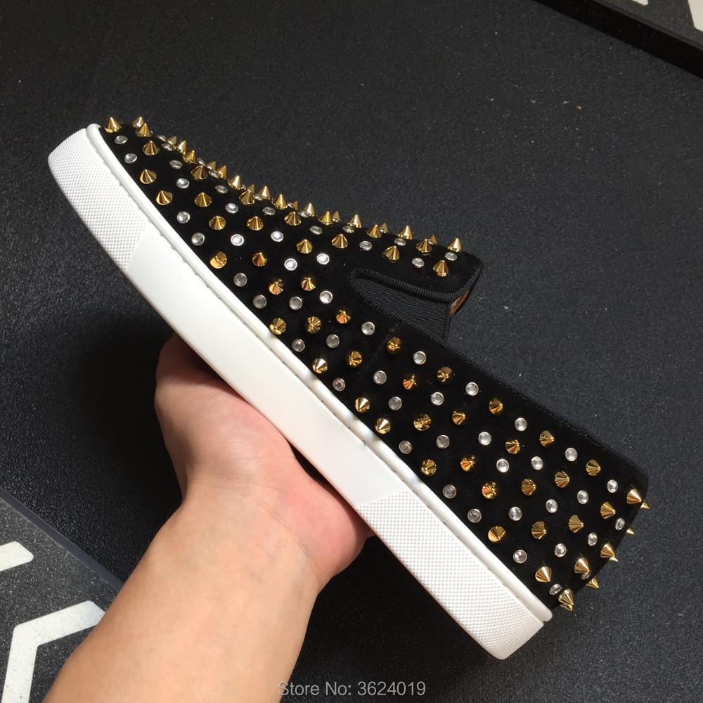 ecaca792056d Low Cut cl andgz Black Lace Up Bling bling Diamond with Rivets Fashion Red  bottom Shoes Sneakers leather casual Flat shoes 2018-in Men s Casual Shoes  from ...