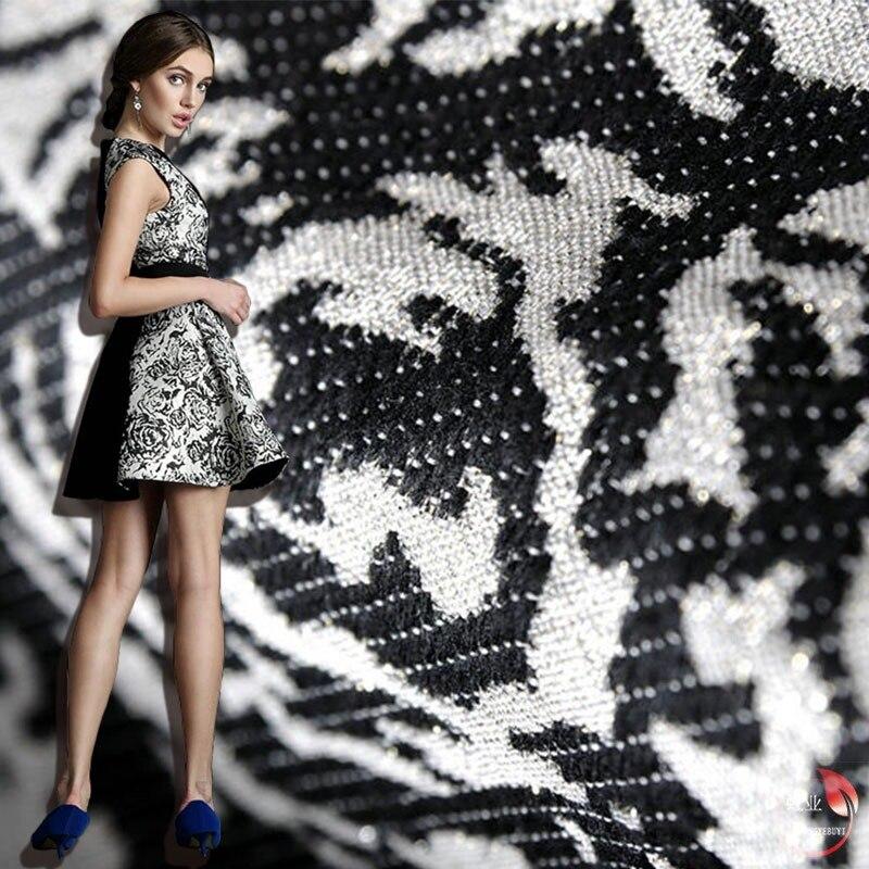 Зимние width145cm * length1 двор Черный и белый роза классический металлические жаккарда Brocade платье Ткань обивка Вышивание Материал