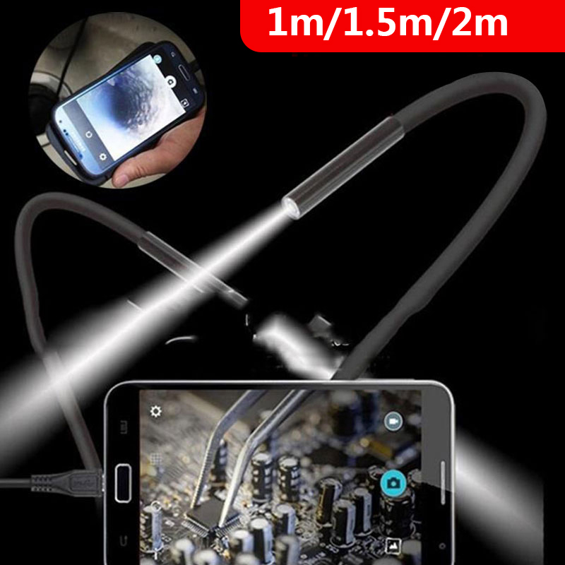 2M 1M 7mm Endoscope Camera Flexible IP67 Waterproof Inspection Borescope Camera For Android PC Notebook 6LEDs Adjustable