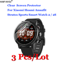 3 unids/lote para Xiaomi Huami Amazfit Stratos deportes Smartwatch 2 2S HD claro Anti-arañazos Protector de pantalla película de protección