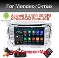 Siliver Цвет 2 Din Автомобильный DVD Android 5.1 Для Ford Mondeo GPS Navi S-max C-max Galaxy Quad Core Wifi GPS Навигации Радио FM OBD
