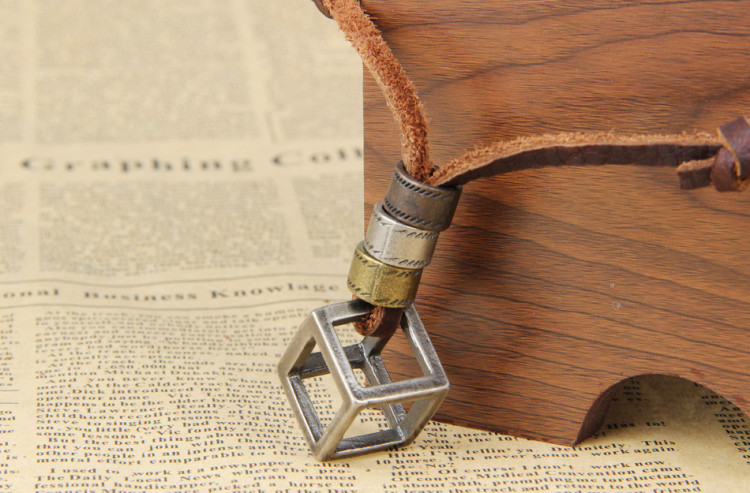 100% Genuine Leather Necklaces Pendants With Box Punk Vintage Adjustable Brown Rope Chain Male Jewelry Mens Jewellery Sautoir (1)
