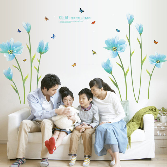 Removable Blue Lily Wall Sticker Vinilos Paredes Wall Stickers Home Decor Living Room DIY 3D Wall Decals Art Flower Stickers  sc 1 st  Aliexpress & Online Shop Removable Blue Lily Wall Sticker Vinilos Paredes Wall ...