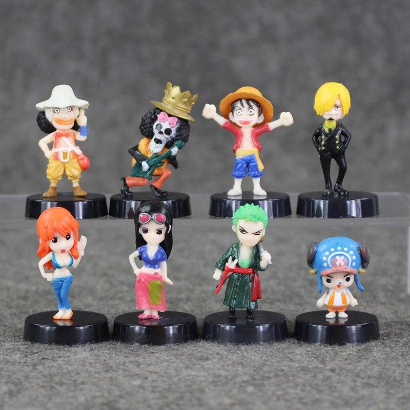 8pcs/lot Anime One Piece Mini Action Figures The Straw Hats Luffy/Roronoa/Zoro/Sanji/Chopper Figure Toys