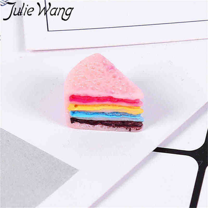 Julie Wang 12PCS Resin Sandwich Charms Triangle Cake Artificial Food Slime Pastry Pendants Jewelry Making Accessory Decor