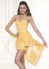 Sexy liebsten yellow cocktailkleider mit rock open back kurze party kleider vestidos de festa curto CPCD11