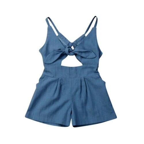 Gemotiveerd 1-6years Kids Baby Girl Solid Een Stuk Romper Backless Jumpsuit Outfit Zomer Kleding