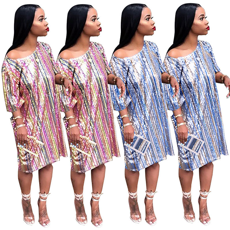 Size Party Blue Dress Sparkle Sequin Short baby Plus Woman Sleeve Rainbow Vestidos Multicolor Glitter Glam Striped Clothes For Fashion Women's Verano zgTqq