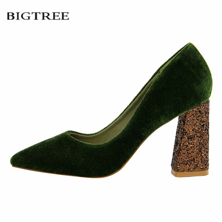 где купить BIGTREE New Spring Fashion Thick Heel Pumps European Sexy High Heeled Shoes Suede Pointed Single Bling Sequin Heels Shoes G828-6 дешево