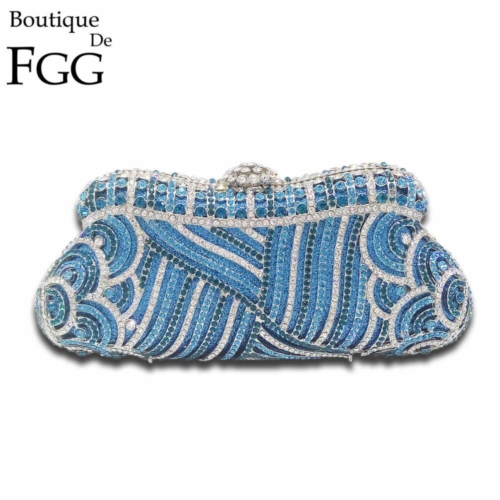 ФОТО Dazzling Rhinestones Metal Minaudiere Hollow Women Party Handbag Clutches Bridal Blue Crystal Purses Wedding Evening Clutch Bags