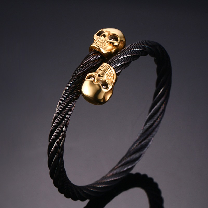 VNOX Drop Shipping Men's Double Skull Head Cuff Bangle Bracelet Punk Black Twisted Wire Cable Skeleton Stainless Steel Jewelry twisted stainless steel wire mens skull bangle bracelet