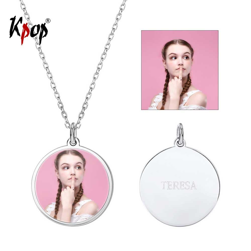 Kpop personnalisé personnalisé gravé Photo pendentif collier anniversaire amour cadeaux 925 Sterling Silve rond Photo collier 6280B