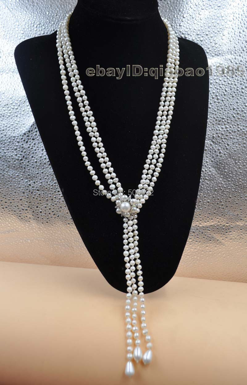 Free shipping 75cm 3strands 4 10mm freshwater pearl necklace