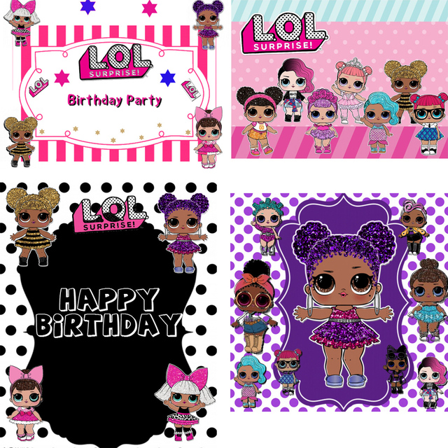 HUAYI dolls Birthday party backdrop photophone background pink dolls for girl baby shower Invitation banner poster photocall
