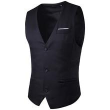 2017 New Man Suit Vest Fashion Slim Fit Brand Men waistcoat Tops Casual Business Wedding Groom Waistcoat Dress Vest Gilet Homme