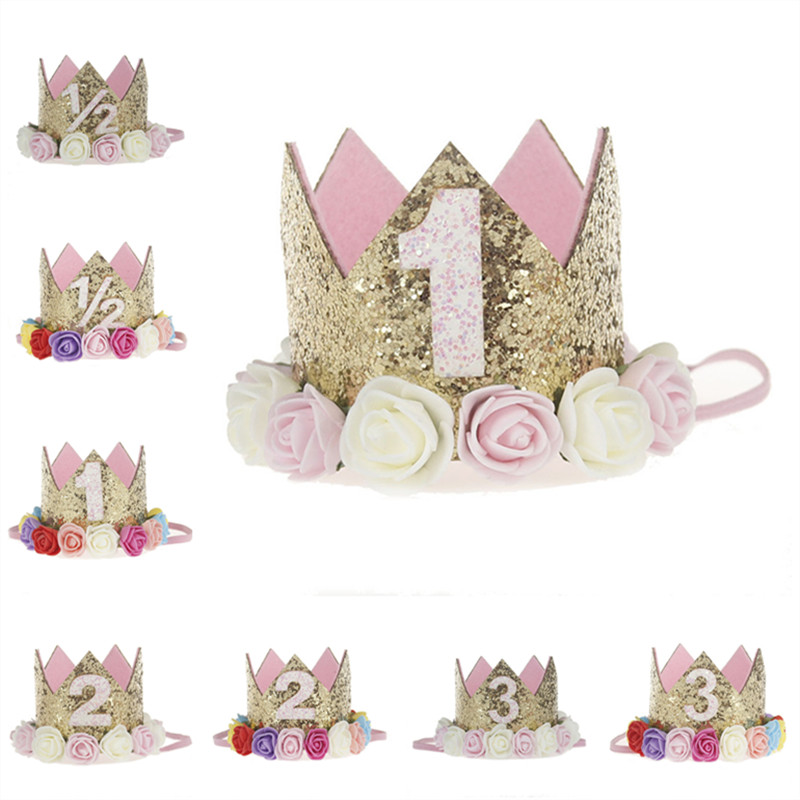 Artificial Delicate Mini Felt Glitter Crown With Flower Headband For Birthday Party Diy Garments Hair Decorative Accessories #1