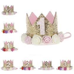 Искусственный нежный мини чувствовал Блеск Корона повязка на голову с цветами для День рождения DIY одежды волосы декоративные аксессуары