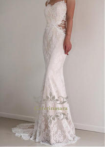 Mermaid French Lace Wedding Dress Illusion both Side Sexy V Back Bride Gown Spaghetti Straps Sweetheart with Sashes Fistail