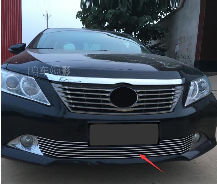 Style de voiture 1 pièces en acier inoxydable chrome calandre avant et arrière décoratif, la saison du barbecue 2012-2013 pour Toyota Camry