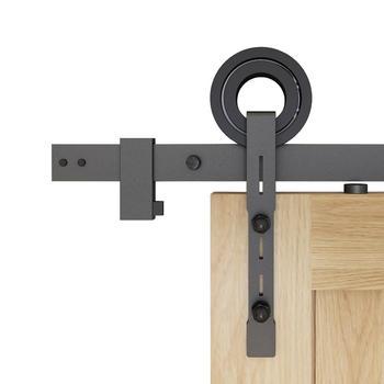 DIYHD TYL611 Slot Cut Ring Roller Rustic Black Sliding Barn Door Hardware,5FT-8FT Track