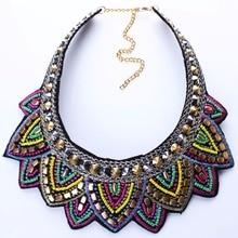 2016 New Fashion Handmade Rope Chain Choker Necklace Women Bohemian Rice Beads Statement Necklace Bib Collier Femme