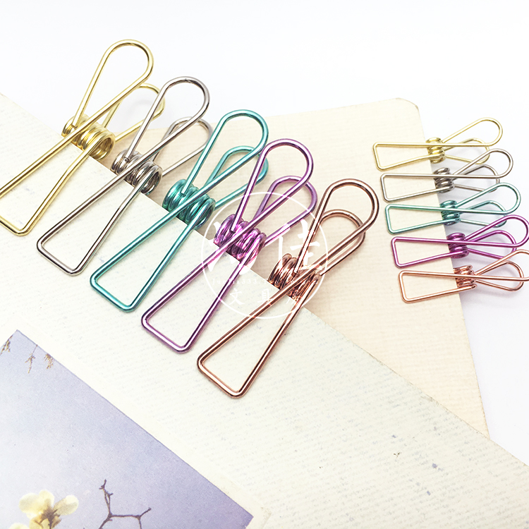 1pc Color Hollow Simple Metal Retro Fish Clip Notes Containing Binder Clip Long Tail Clip Kawaii Supplies Office Accessories