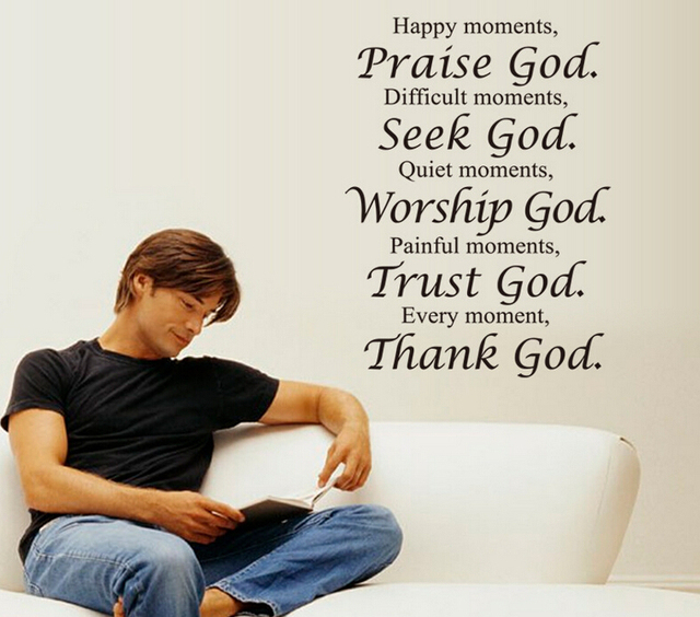 Bible Thank God Quote Wall Stickers For Living Room Religious