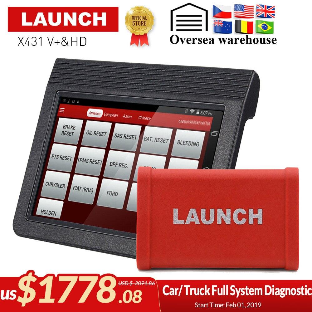Original Lancement X431 V + et X431 HD heavy duty 10.1 tablette écran Bluetooth/wifi auto scanner de diagnostic test pour 12 V/24 V camion