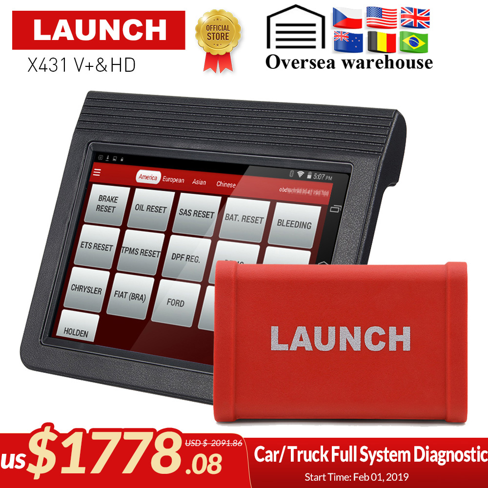 Original Launch X431 V+ & X431 HD heavy duty 10.1 Screen Tablet Bluetooth/wifi auto diagnostic scanner test for 12V/24V truck