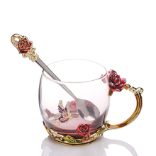 Red Rose Crystal Cup Butterfly Flower Tea Glass for Coffee Water with Handgrip Mug Wedding Birthday Gifts