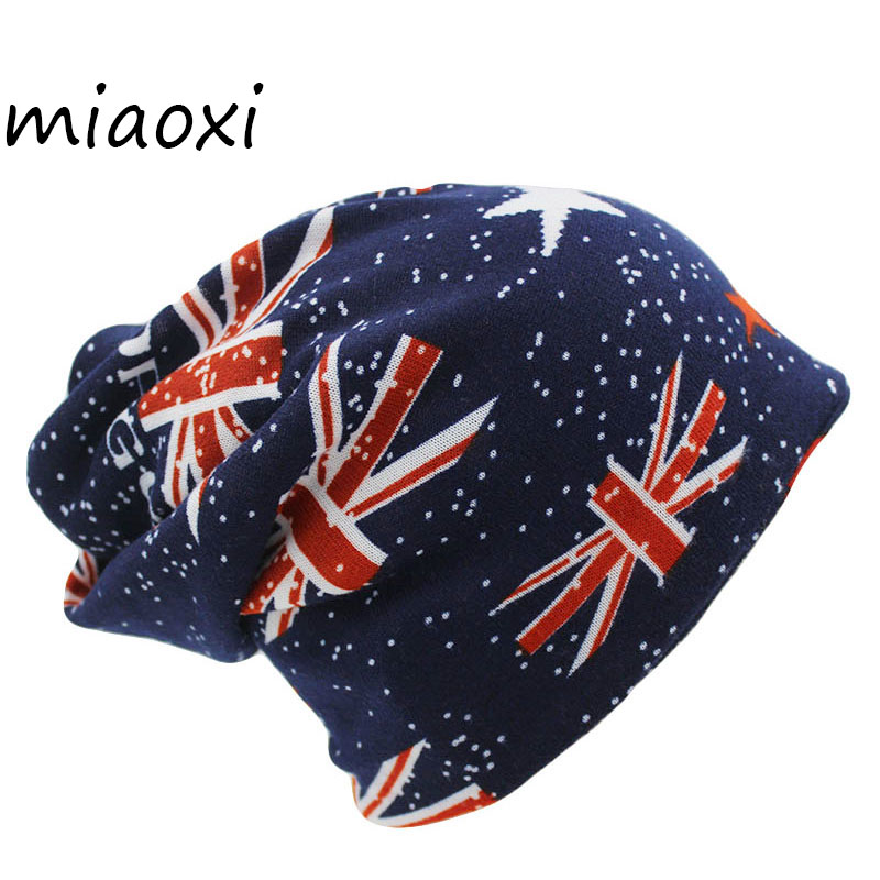 miaoxi New Arrival Fashion Autumn Girls Warm Hat Scarf Women Men Adult Flag Hats 3 Colors Beanies For Girl Gorro