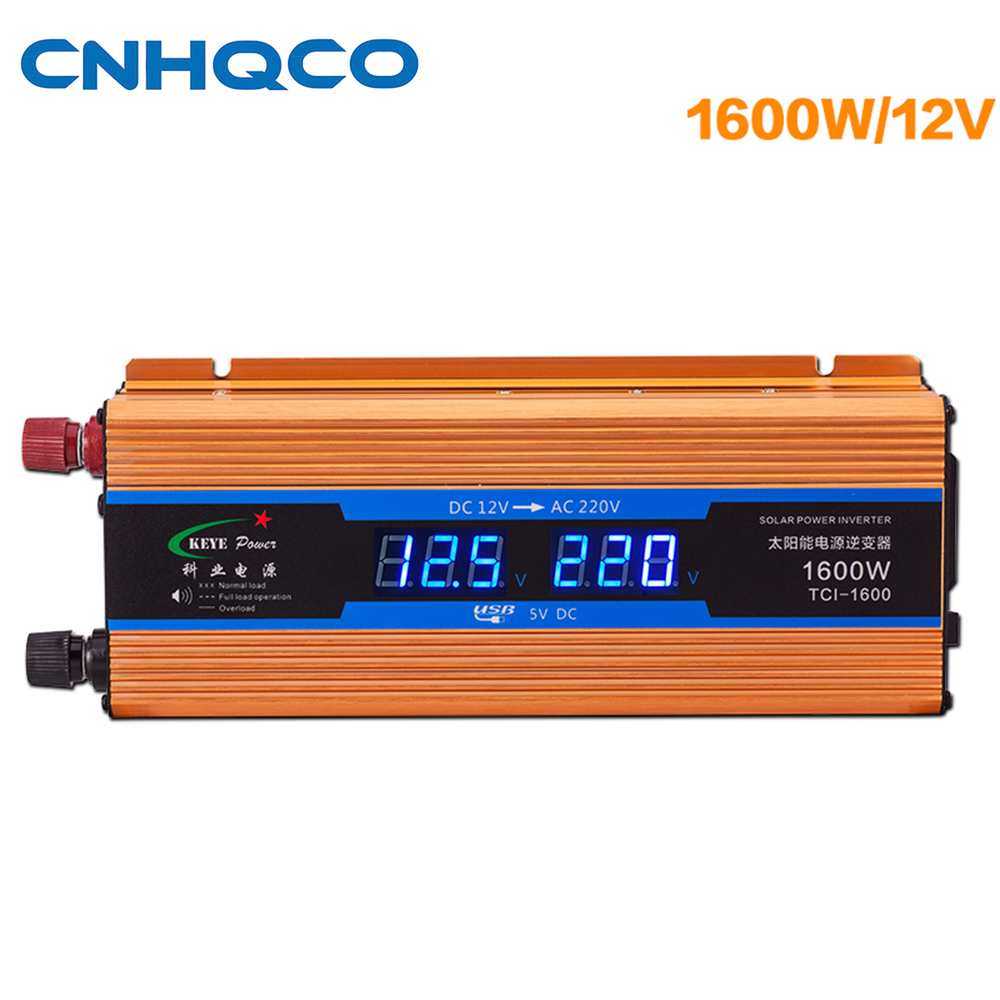Solar Power Inverter DC 12V to AC 220V 1600W Power Suppl Converter USB Adapter On-board Charger AE178 wg2usb wiegand to usb converter board grass green