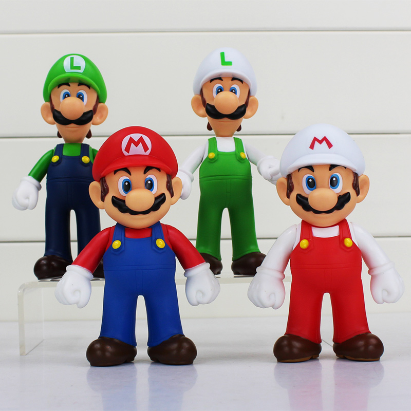 4Pcs/Lot Super Mario Bros Luigi Mario Action Figure PVC Toy Doll Figures Toys For Children 13cm